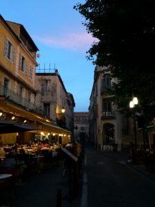 A scene in a popular square in Arles, France